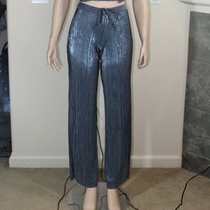 VS METALLIC PEWTER PLEATED LOUNGE PANTS SIZE SMALL